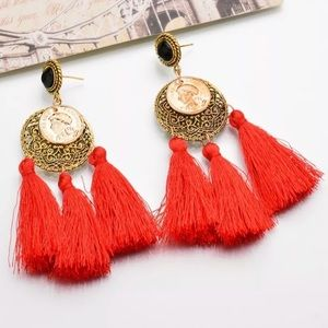 Jewelry - Red Tassel Gold Chandelier Cocktail Earring